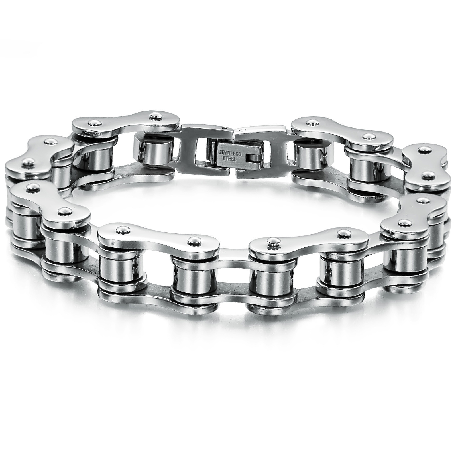free shippping Stainless Steel Bracelet Silver Tone Biker Bicycle Motorcycle Chain For Mens Bracelets & Bangles Fashion Jewelry