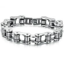Бесплатная доставка нержавеющая сталь браслет Серебряный тон Байкер Мотоцикл Велосипед Сеть для мужские браслеты и браслеты ювелирные изделия