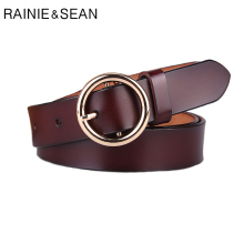 RAINIE SEAN Women Belt Round Buckle Strap Pin Genuine Cow Leather For Dress Classic Coffee Real Ladies Jean Belts