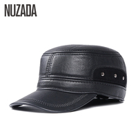 Brand NUZADA Middle Aged Man And The Elderly Men Military Hats PU Leather Autumn Winter Men Flat Top Cap Keep Warm Visor Hat