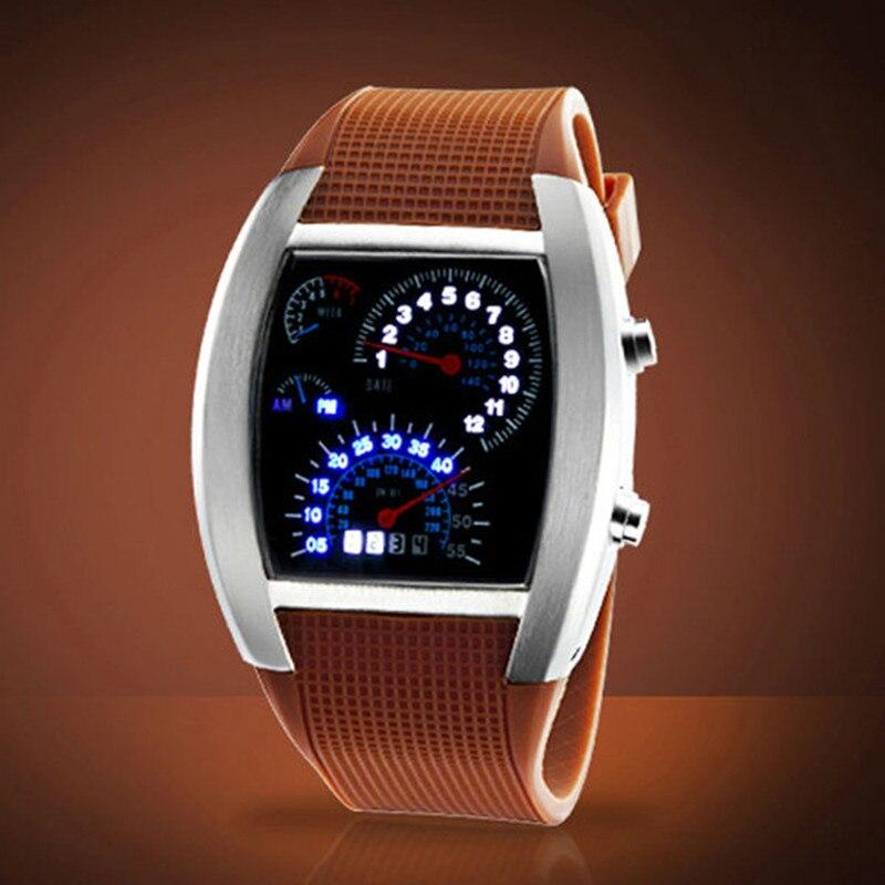 AAA Watch men Fashion Aviation Style Turbo clock Dial Flash LED Watch Men Best Gift Car Meter Digital relogio masculino #0301