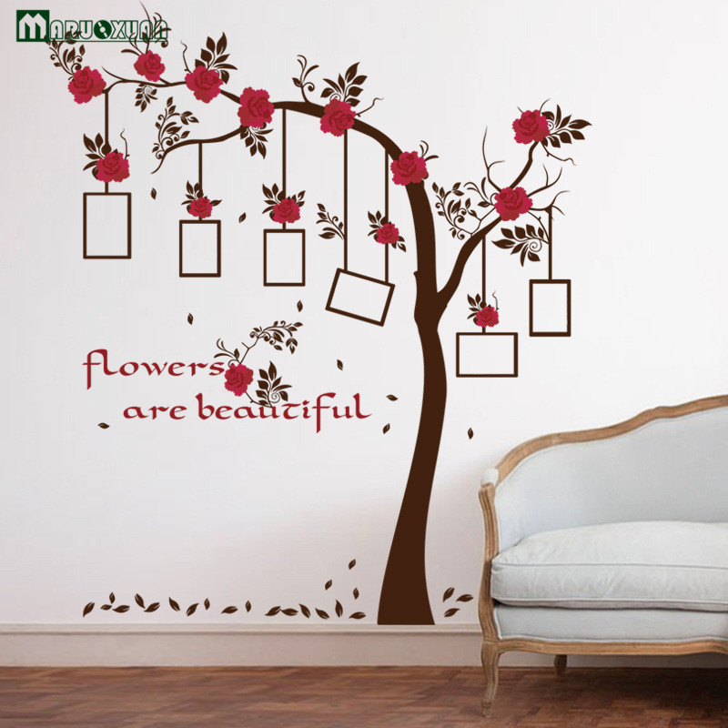 tree wall decals for living room maruoxuan safflower picture photo frame tree wall stickers 24061
