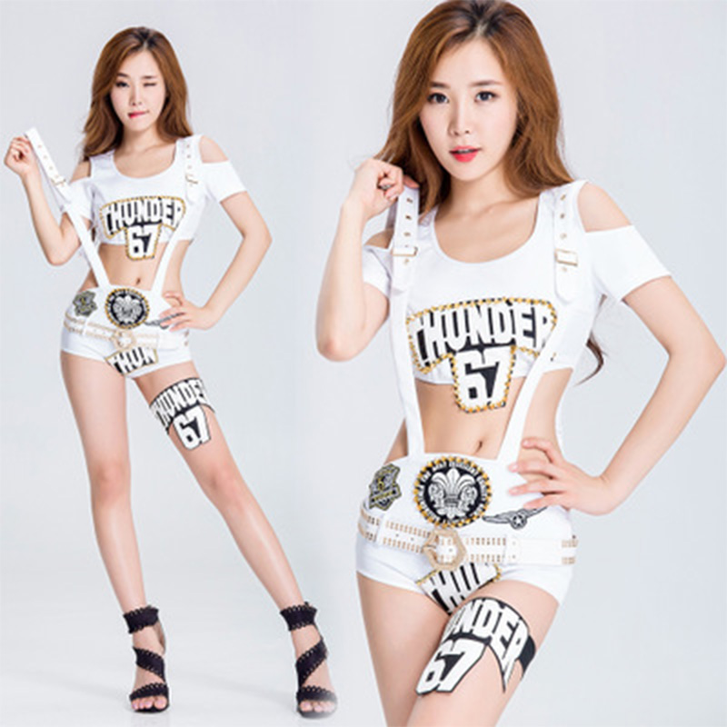 2019 New Sexy Fashion Women Stage Dance Costume Slim Waist White Top Costumes Female Singer Top Stage Wear DJ Performance Wear