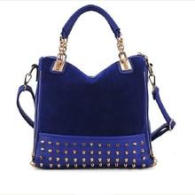 2016 New Fashion Women Handbag Frosted Rivets Shoulder Bags Rivet Suede Nubuck Leather Ladies Bag  Black And Blue Wholesale