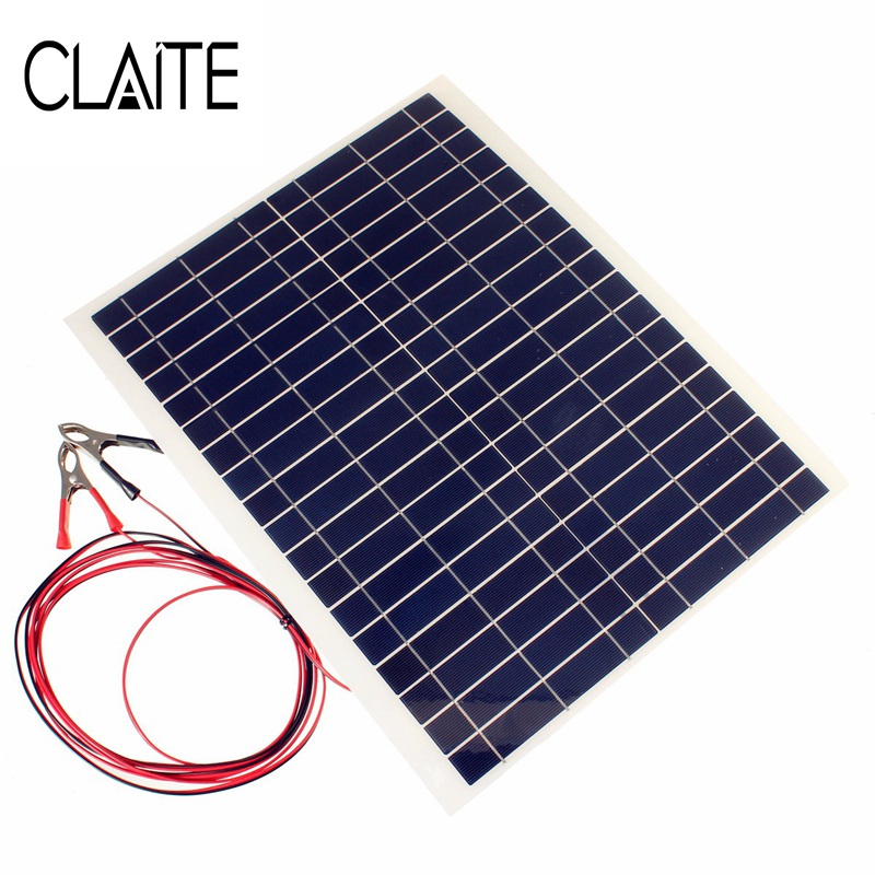 Hot Sale 20W 12V PolyCrystalline Epoxy Cells Solar Panel DIY Solar Module Battery Power Charger+2x Alligator Clips+4m Cable high quality 18v 2 5w polycrystalline stored energy power solar panel module system solar cells charger 19 4x12x0 3cm
