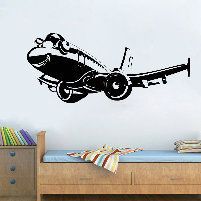 Cartoon Airplane Wall Sticker Aircraft Air Plane Vinyl Decal Home Garage Kids Room Interior Decoration Waterproof Art Murals