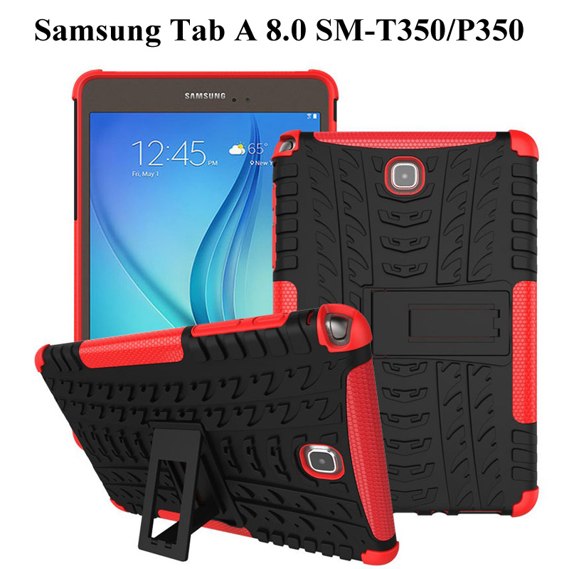 Silicone TPU+PC Kickstand Dual Armor Back Case For <font><b>Samsung</b></font> Galaxy <font><b>Tab</b></font> <font><b>A</b></font> 8.0 SM <font><b>T350</b></font> T355 P350 P355 8 inch Tablet Case+film+pen image