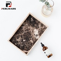 Nordic Style Coffee Color Natural Marble Tray Rectangle Tea Tray Jewelry Storage Plate Creative Desktop Ornament Home Decor Dish