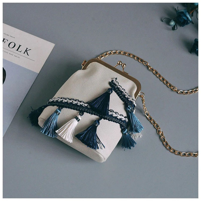 Bag Canvas Tassel Bucket Big Chain Handbag Spring And Summer Ethnic Style Messenger Bags
