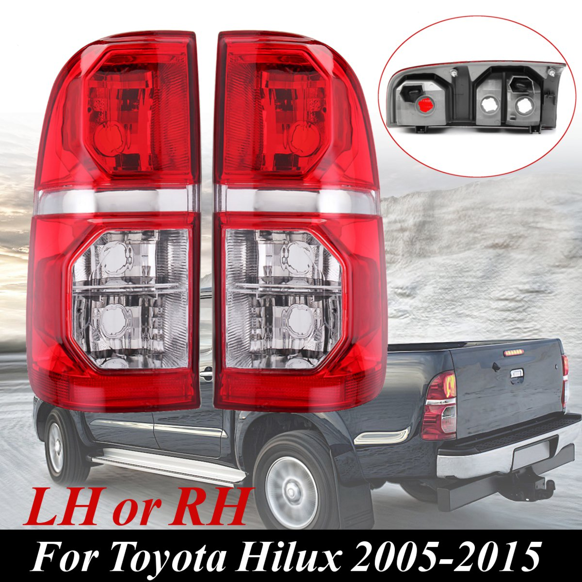 Red Left/Right Car Rear Side Tail Brake Lamp Light for Toyota Hilux 2005 2006 2007 2008 2009 2010 2011 2012 2013 2014 2015 LH/RH