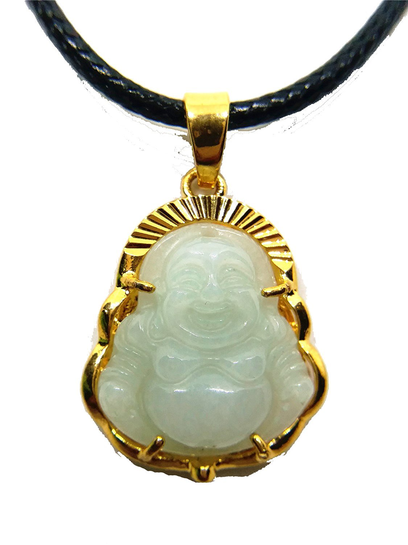 Natural Burmese Jade A Titanium Steel Buddha Pendant Leather Rope Necklace Wholesale