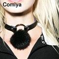 Perfumes Comiya jóias acessórios de couro da moda cor prata liga de zinco pena bola charme colares mulheres gargantilha colar