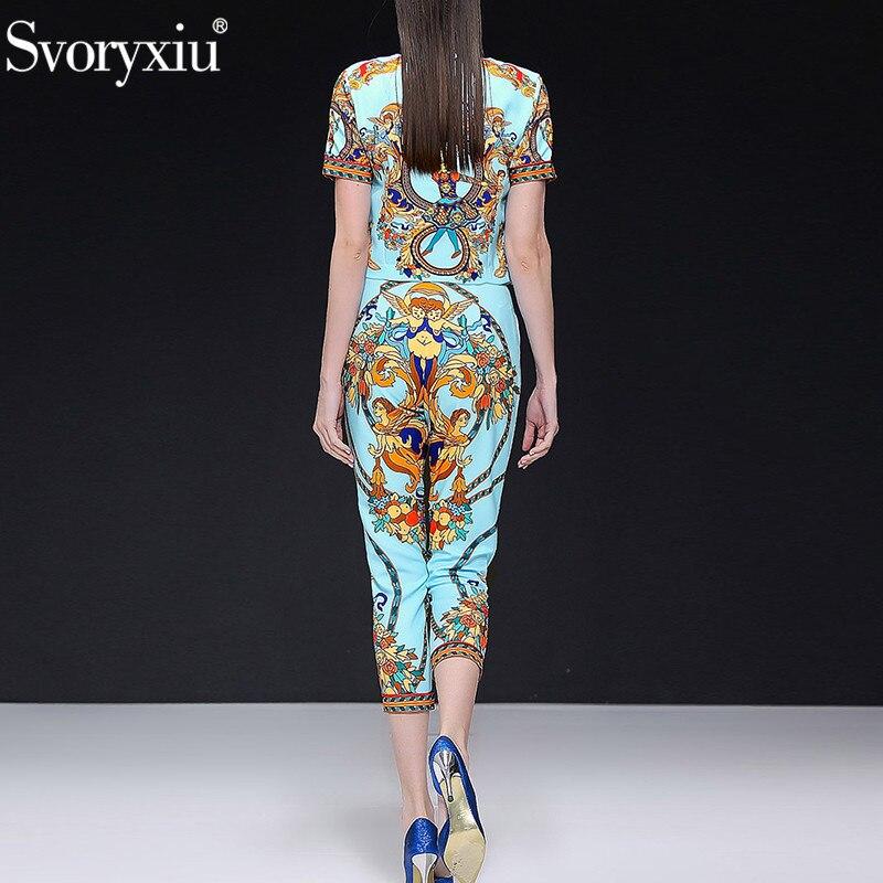Svoryxiu Fashion Designer 봄 Summer Casual Pants 한 벌 Women's Vintage 구슬 Blue (eiffel tower) 패턴 Print Office Lady 두 종 Set-에서여성 세트부터 여성 의류 의  그룹 2