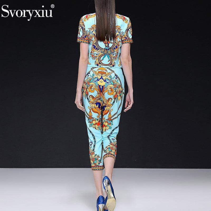 Svoryxiu แฟชั่นฤดูใบไม้ผลิฤดูร้อนสบายๆกางเกงชุดสตรี Vintage Beading Blue พิมพ์ Office Lady ชุด 2 ชิ้น-ใน ชุดสตรี จาก เสื้อผ้าสตรี บน   2