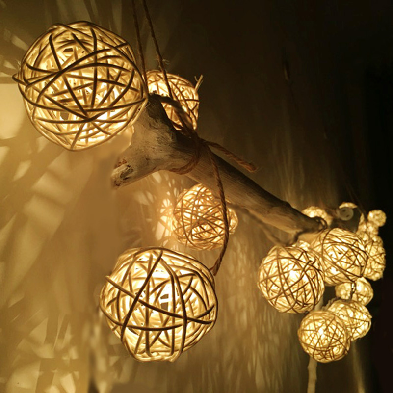 2M 20 LED Warm White LED String Light Indoor Battan Ball Christmas Wedding Party Holiday Decoration ...