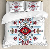 Geometric Duvet Cover Set, Mexican and African Ethnic Tribal Ornamental Folkloric Unique Vintage Pattern, 4 Piece Bedding Set