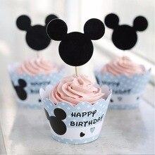 Микки Маус кекс обертки для пирожных Toppers Беби Шауэр детский Декорации для вечеринки на день рождения поставки 12 шт. обертки+ 12 шт. Топпер