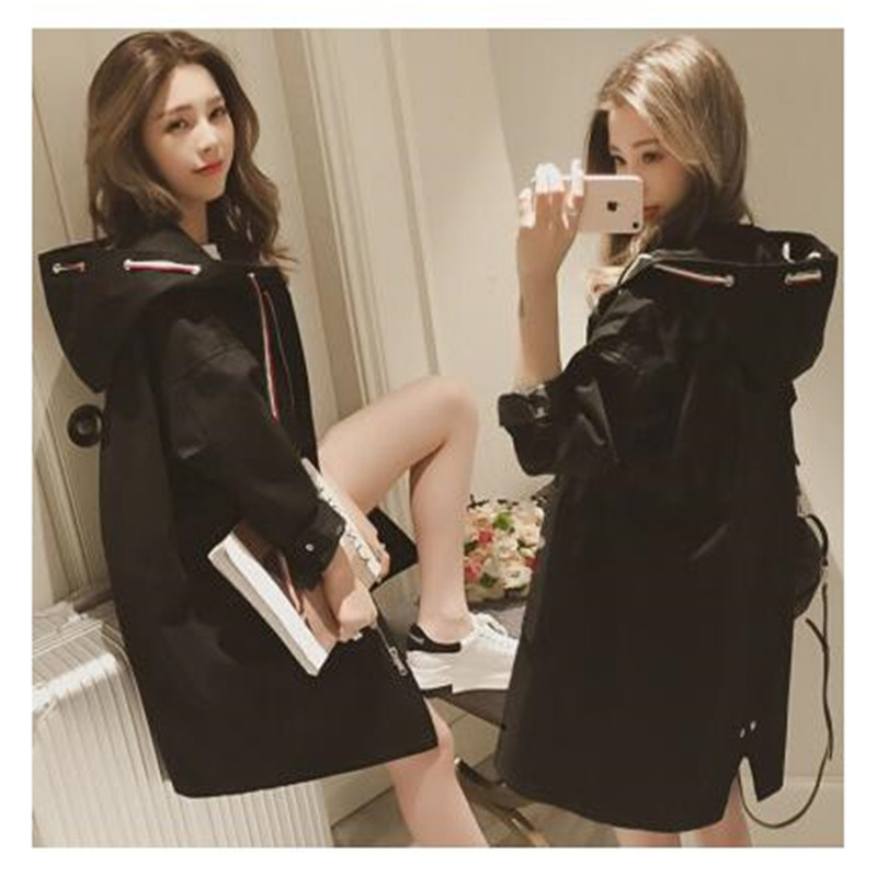 Coat Outerwear Hooded Long-Windbreaker Female Loose Autumn Winter Business Students