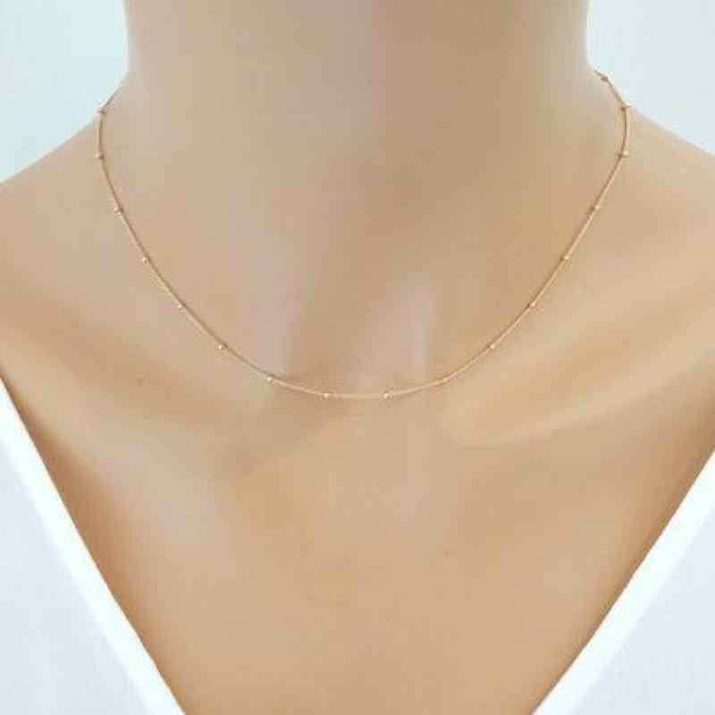 14dbbb5a755f6 Women Gold Chain Necklace Delicate Beaded Satellite Dainty Choker ...