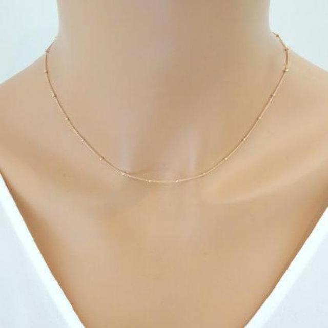 Bien connu Women Gold Chain Necklace Delicate Beaded Satellite Dainty Choker  JP51