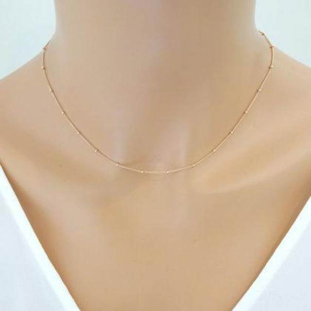 Online shop women gold chain necklace delicate beaded satellite women gold chain necklace delicate beaded satellite dainty choker necklace minimalist collar femme bijoux simple jewelry mozeypictures Gallery