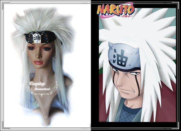 Wholesale Free Shipping Hot Selling Cheapest Halloween Naruto Cosplay Wig Jiraiya Wig without headband