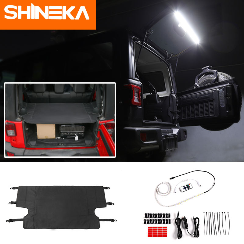 SHINEKA For Jeep Wrangler JL JK 2018 Wrangler trunk Cover curtain Car Trunk Lights Rear Tail