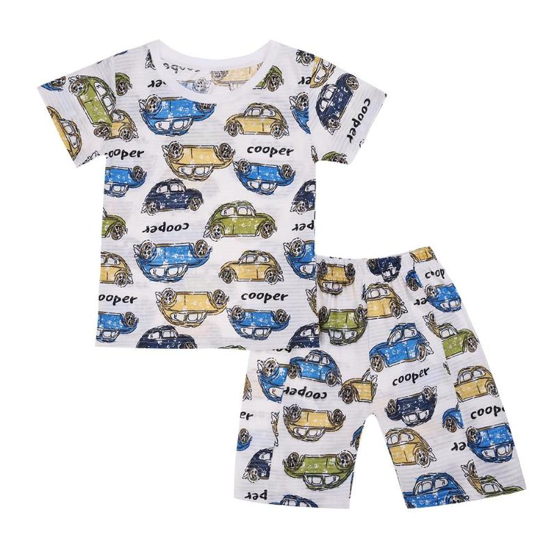 2Pcs Baby Boys Clothes Casual Kids Short Sleeve O-Neck Cute Cars T-shirt Shorts Cute Children Cotton Outfits Clothing Set