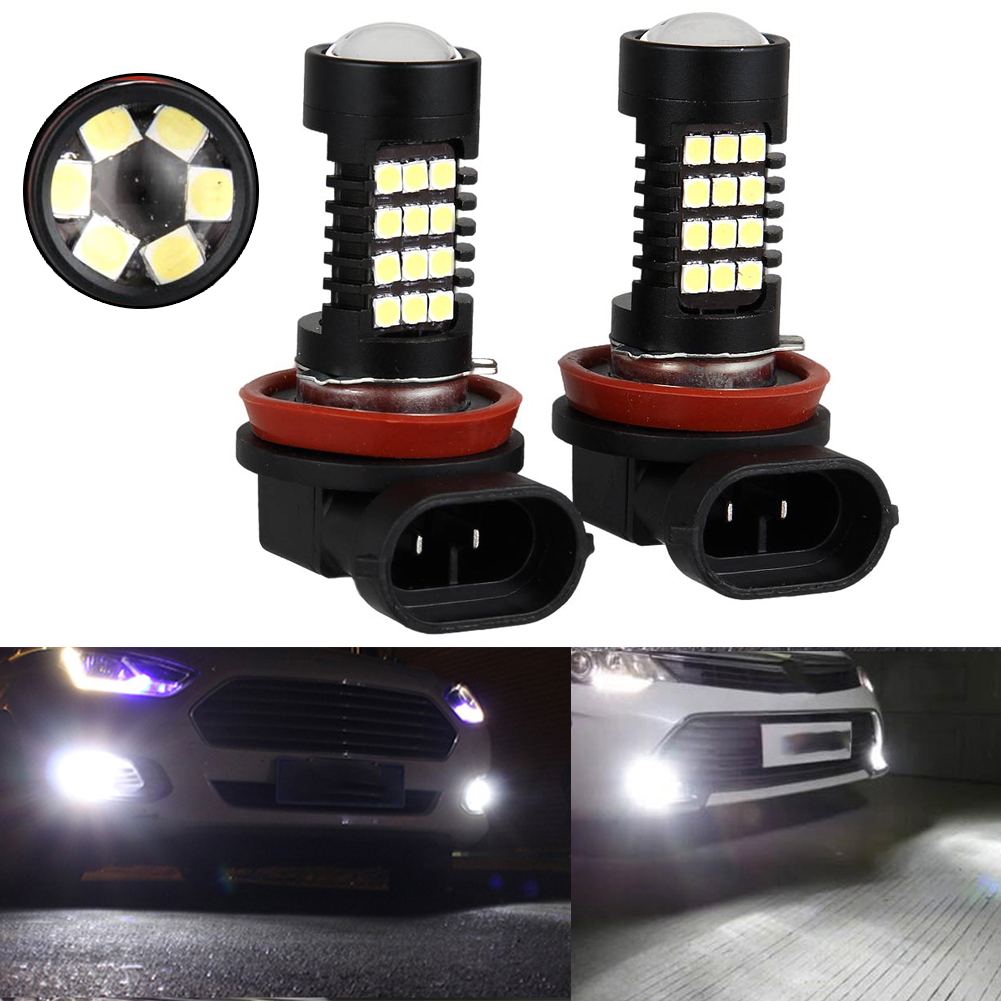 New 2 Pcs Car Headlight 80W Bulb 12V White Strong Lighting Fog Rain Safety Indicator Lights 6000K LED Headlights DXY88