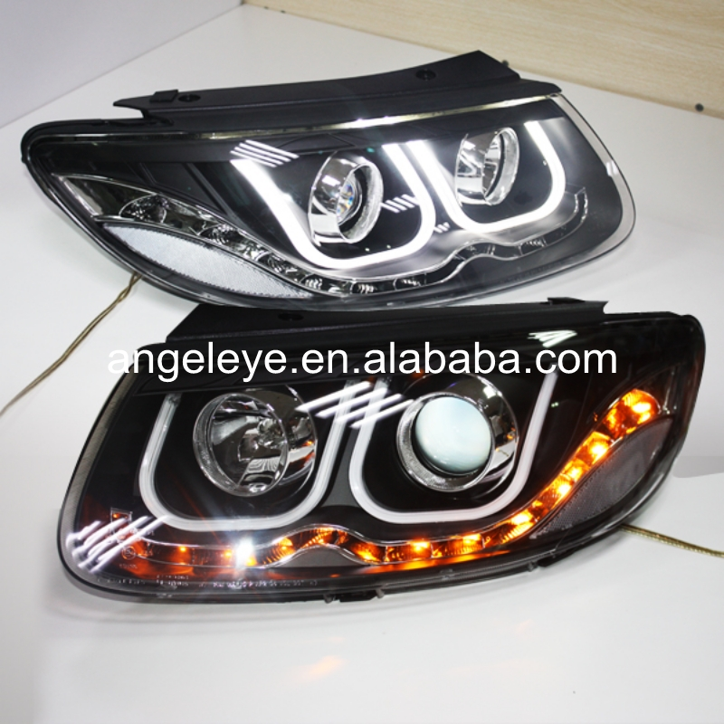 For HYUNDAI for Santa Fe 2006-2010 year LED head lamp Headlights U style Angel Eyes LDV2