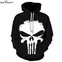 BIANYILONG Autumn Winter Hooded Hoodies Men Women 3d Sweatshirts With Cap Print Wizard Trasher Skulls Oil