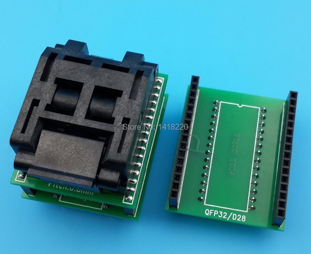 все цены на Free Shipping  1Pcs TQFP32 QFP32 FQFP32 PQFP32 to DIP32 to DIP28 Universal Socket Adapter Converter онлайн