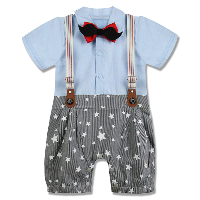 Baby Boys Gentleman Overall Tuxedo Romper Infant Onesie with Bow Tie ...