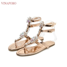 Vinapobo Bohemia Rhinestones Chains woman Sandal New arrival Flat Crystal Flip Flops women' s sandals with jewels chaussures fem