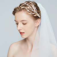 Luxury Gold Silver Leaf Bridal Crown And Tiara Crystal Bridal Headbands Wedding Hair Accessories Hairband Headpiece Jewelry