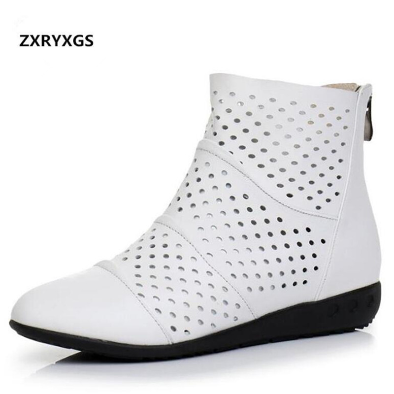 Light Comfortable Hollow Cowhide Leather Boots Women Shoes 2019 Spring and Summer Soft Bottom Breathable Flat