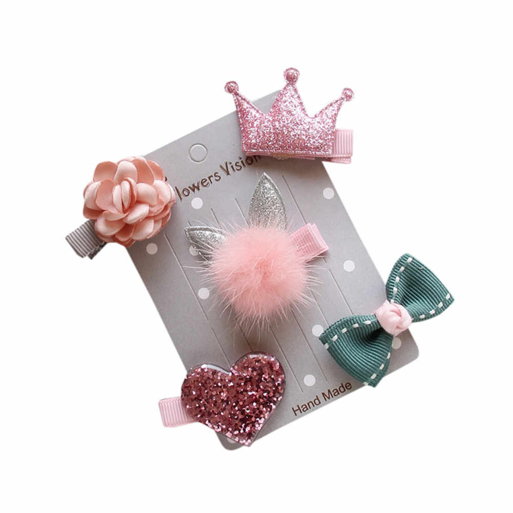 Kawaii 5 Pcs Set Headwear Crianças Acessórios de Cabelo Laço de Fita grampo de cabelo Grampos de Meninas Princesa Cocar Coroa Bonito Coelho Cabelo Aderência