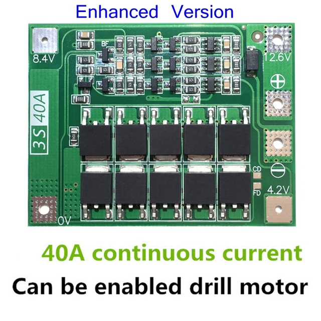 3S 40A Li-ion Lithium Battery Charger Protection Board PCB BMS For Drill Motor 11.1V 12.6V Lipo Cell Module