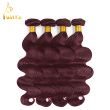 HairUGo Hair Pre colored Brazilian Hair Weave 4 Bundles Body wave Human Hair Bundles 99J Red