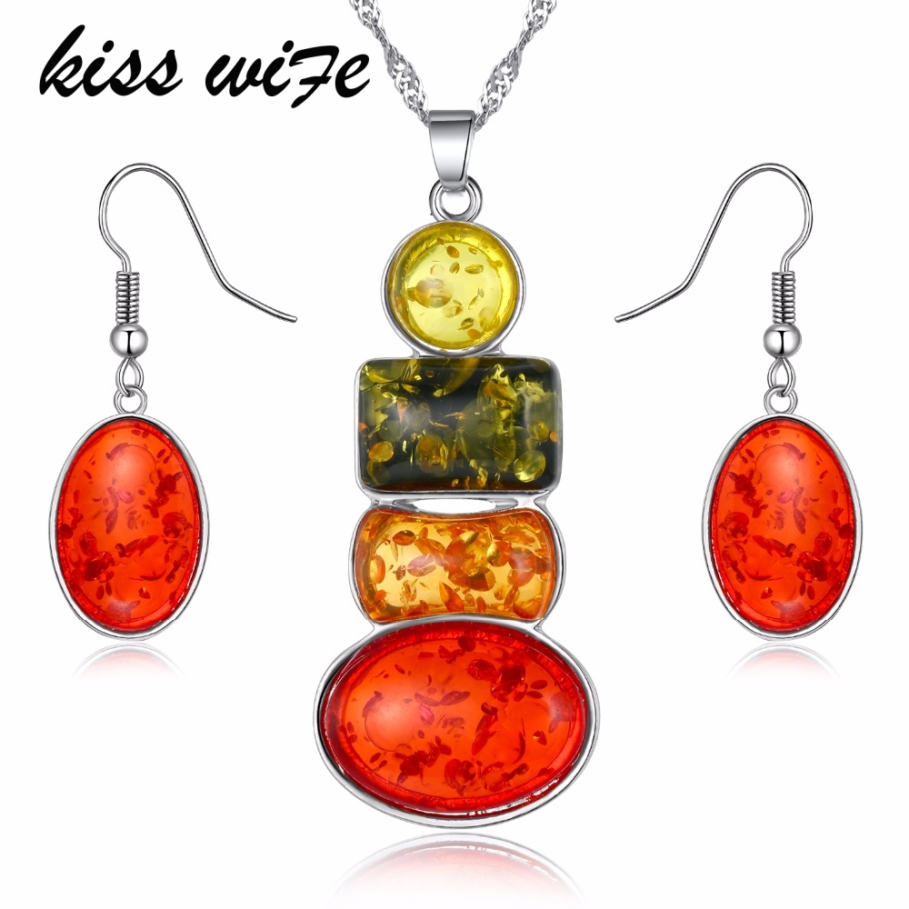 KISSWIFE Color Jewelry Sets For Women African Beads Jewelry Set Vintage Statement Necklace Earrings Set For Women Jewellery Set