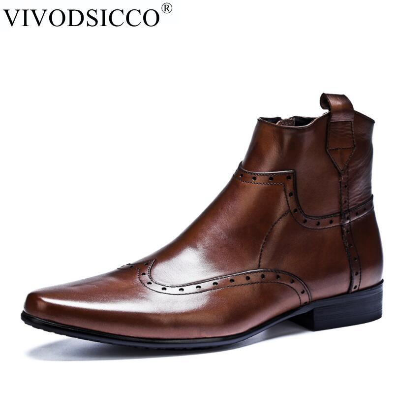 VIVODSICCO Chelsea Boots Men Casual Shoes Bullock Black Men Leather Boots Spring/Autumn Work Ankle Boots For Men Footwear недорого