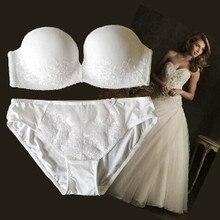 Bordado push up nenhuma fita de ombro deslizamento resistente sexy vestido formal sutiã conjunto de casamento ajustável