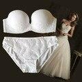 Embroidery push up no shoulder tape slip-resistant sexy formal dress bra set wedding adjustable