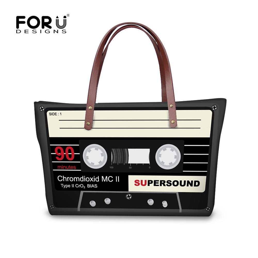 FORUDESIGNS 여성 핸드백 대용량 카세트 테이프 숄더 백 빈티지 Bolsas Femininas 탑 핸들 가방 숙녀