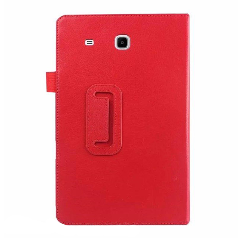 For Samsung Galaxy Tab E 9.6 Folio Case - Slim Fit Premium Vegan Leather Cover for Samsung Tab E 9.6-Inch Tablet, Red