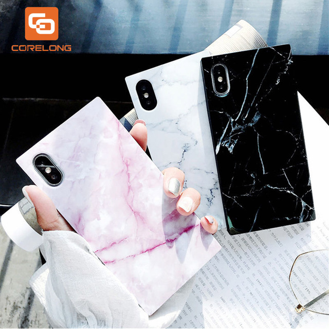Marble Texture Case For iPhone 7 8 Plus 7plus X 6 6s Luxury Granite Stone Soft IMD Square Design Fundas For iPhone XS Max XR