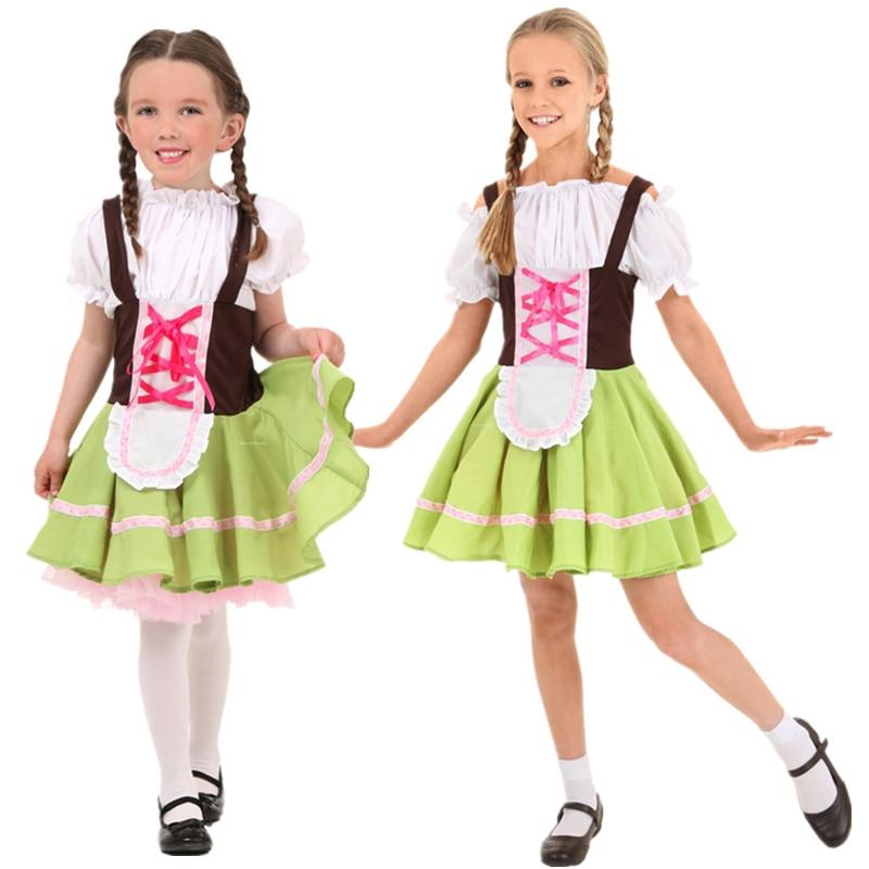 271382aee68 US $11.54 30% OFF|Vocole S XL Girls Children Oktoberfest Costume German  Heidi Dirndl Bavarian Fantasia Fancy Dress Halloween Beer Maid Uniform-in  ...