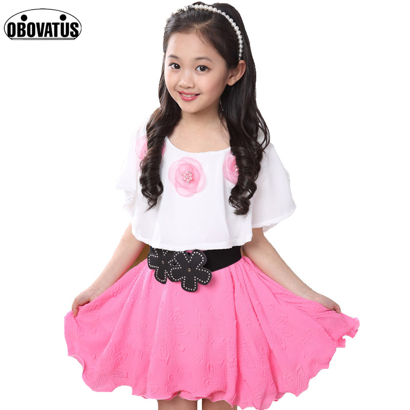 Summer 2018 Girl New Casual Polyester Dress Girls Clothes Pearl Flowers Girl Print Dresses Vestido Infantil Kids Dress Clothes