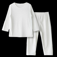 1 6Y Children Thin Bamboo Fiber Pajamas Set Kids Pure White Color Breathable Homewear Clothing Girls