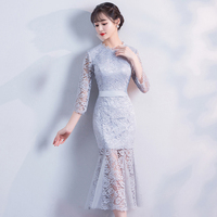 2018 Sexy Spring Cheongsam Traditional Chinese style Womens Elegant Slim Qipao Party Dress Long Robe Vestidos S XXL